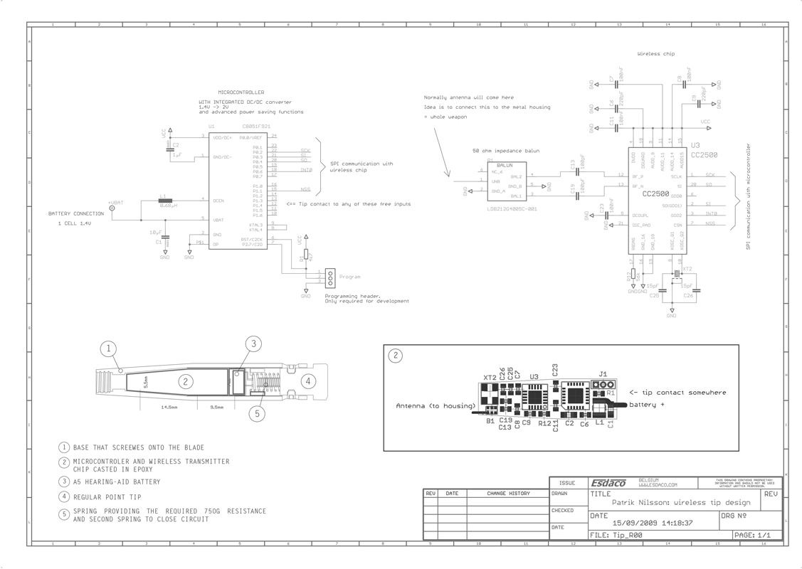 Component drawing  – Wireless Tip